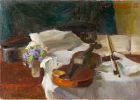 1956 | Violin and violets | oil on canvas 48x68