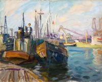 1966 | Ships at the port of Ventspils | oil on canvas 56x70