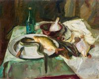 1968 | Eel and other fishes | oil on canvas 81x100