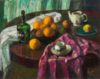 1970 | Oranges and a bottle of rum | oil on canvas 73x92