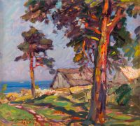 1970 | Pine trees on the seashore of Apsuciems | oil on cardboard 56x65