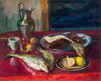 On a red table | oil on canvas 81x100
